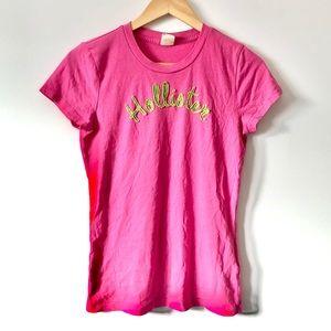 Hollister Pink/Green Graphic T-Shirt (Junior)